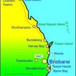 Kaart van reis langs oostkust Australie